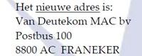 01-01-2016 zijn wij gevestigd in het mooie Franeker